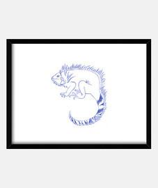Dibujo a pluma Iguana