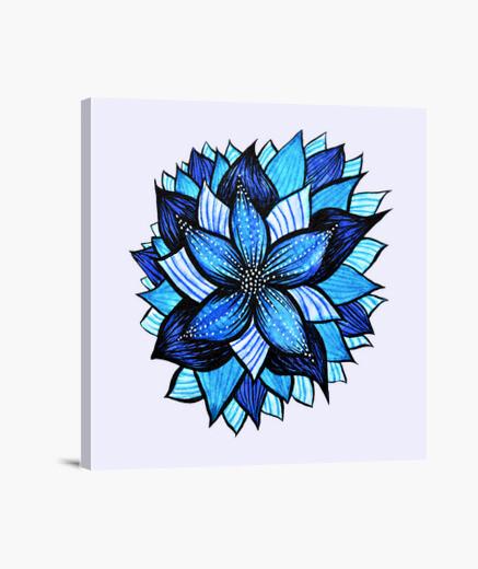 Lienzo dibujo abstracto de la flor azul de la tinta