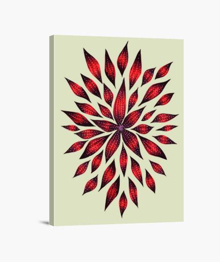 Lienzo dibujo de doodle de flor roja abstracta