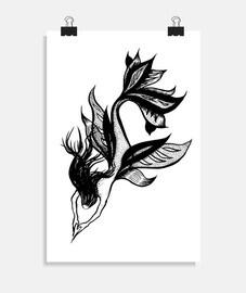 dibujo de tinta hermosa sirena