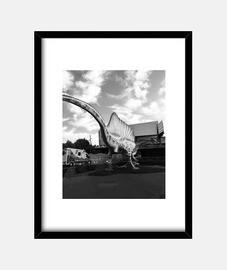 Dino - Cuadro con marco negro vertical 3:4 (15 x 20 cm)