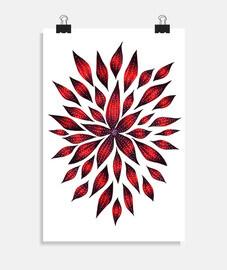 disegno astratto doodle fiore rosso