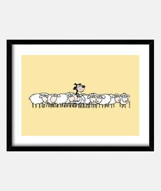 disegno pelle di agnello. quadro con cornice orizzontale 4: 3 (40 x 30 cm)