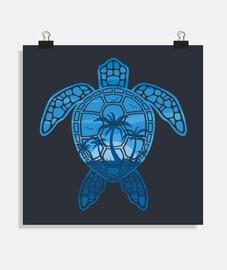 diseño de tortuga marina de isla tropical en azul
