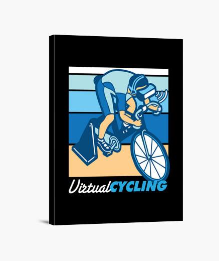 Lienzo diseño retro de ciclismo virtual