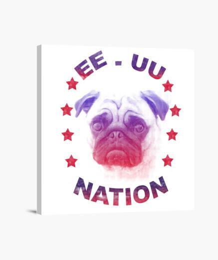 Lienzo EE.UU Nation -Pug-
