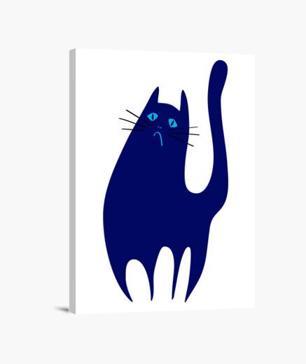 Lienzo El Gato Triste y Azul