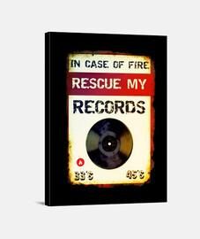 en caso de incendio // imprimir sobre lienzo / negro.