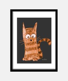 Entretenido y jovial gatito que está observando algo que no vemos