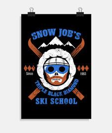 escuela de esquí de trabajo de nieve