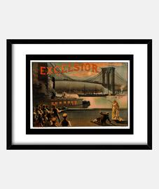 Excelsior Brooklyn Bridge, poster 1883