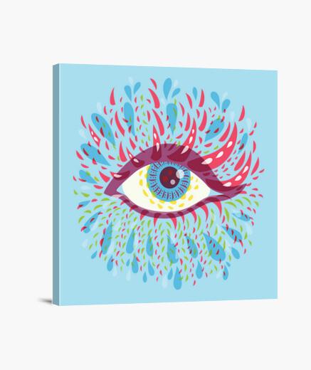 Lienzo extraño psicodélico ojo azul