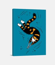 feliz nadando gato esqueleto manos