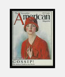 femme avec chapeau rouge, magazi américain