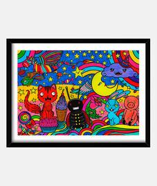 Fiesta de color, cuadro enmarcado.