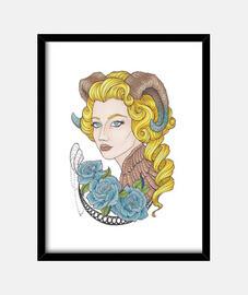 fille avec des cornes et des roses bleues
