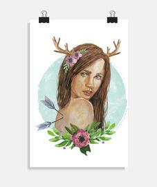 fille de cerf avec des fleurs
