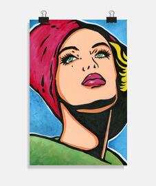 fille vintage avec bonnet pop art rouge par cristina galvez