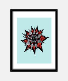 fiore rosso inchiostro nero astratto