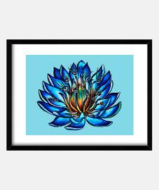 fleur de nénuphar bleu étrange aux yeux multiples