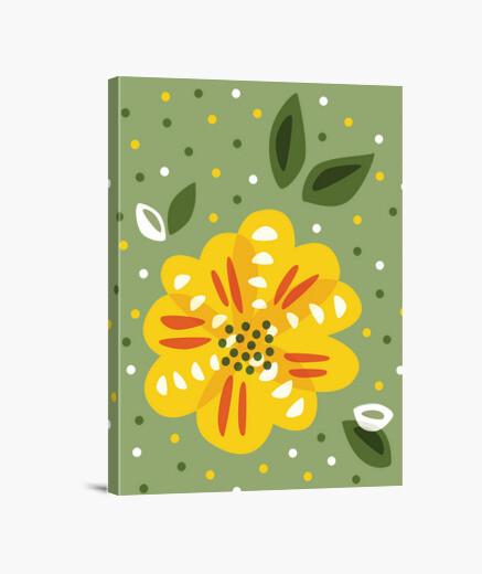 Tableau fleur jaune primevère