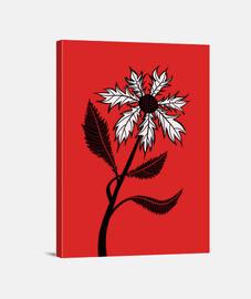 flor gótica en blanco y negro en tinta