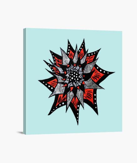 Lienzo flor roja abstracta negra de la tinta del extracto