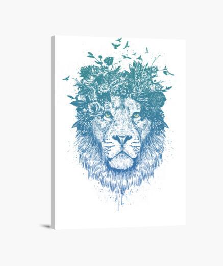 Floral lion canvas