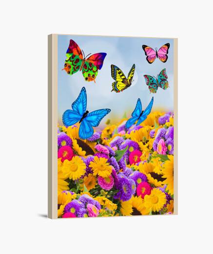 Lienzo Flores, girasoles y mariposas. Colores v