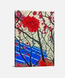 Flores rojas lienzo