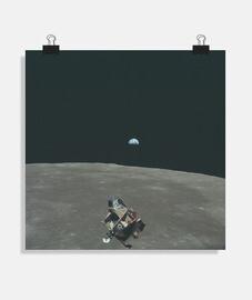 Foto de la luna y la tierra desde el apollo 11 Póster cuadrado 1:1 - (40 x 40 cm)