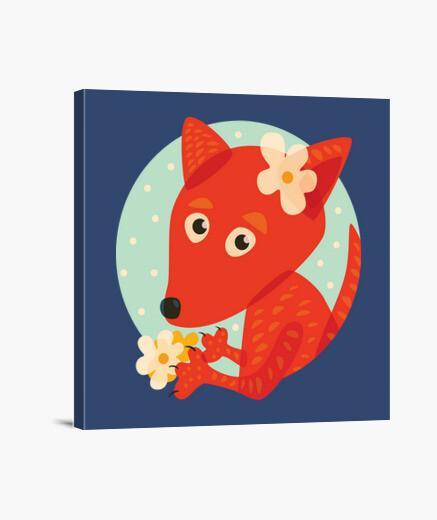 Lienzo fox lindo y flores