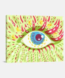 frente mirando los ojos brillantes psicodélicos