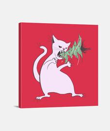 funny white cat eats christmas tree