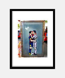 Futbol - Cuadro con marco negro vertical 3:4 (15 x 20 cm)