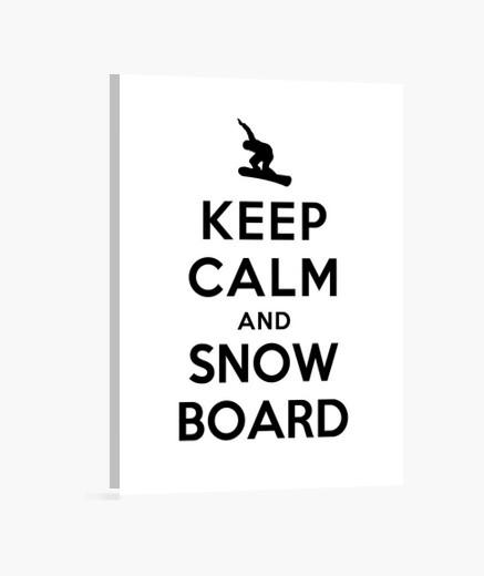 Tableau garder calme et snowboard