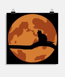 Gato sobre Luna roja