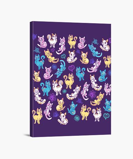 Lienzo gatos de colores de impresión de la lona