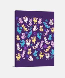 gatos de colores de impresión de la lona