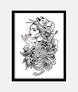 geisha en máscara de gato