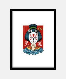Geisha kitsune mask spirit japanese gir