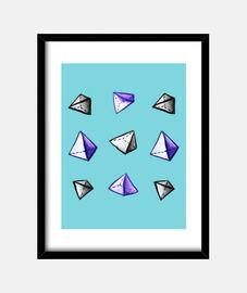 geometric watercolor pyramid pattern