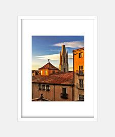 Girona - Cuadro con marco blanco vertical 3:4 (15 x 20 cm)