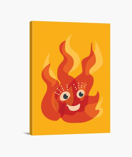 Leinwandbild glücklich brennenden feuer flamme charakter