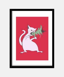 gracioso gato blanco come árbol de navidad