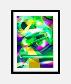 GREEN-ACID Cubismo Arte Abstracto Digit