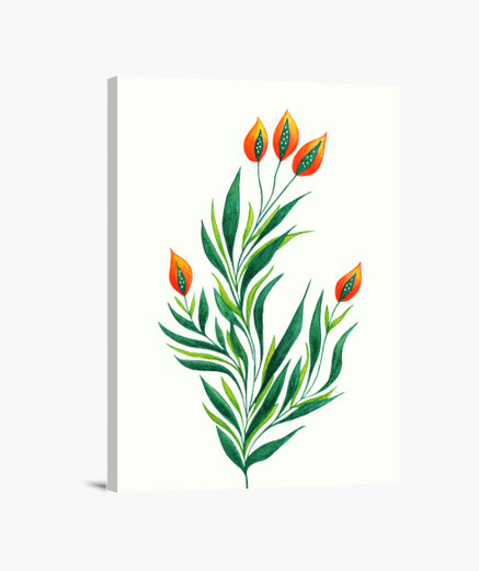 Green plant with orange buds canvas