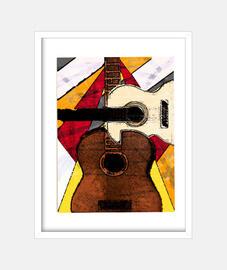 Guitarras Cubismo Cuadro con marco blanco