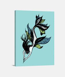 hermosa sirena tinta dibujo azul verde