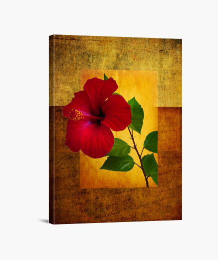 Lienzo hibiscus rojo